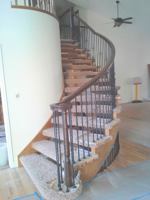 curved railing stair