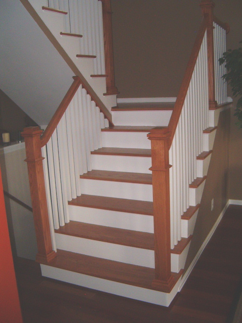 stair with white risers and oak treads